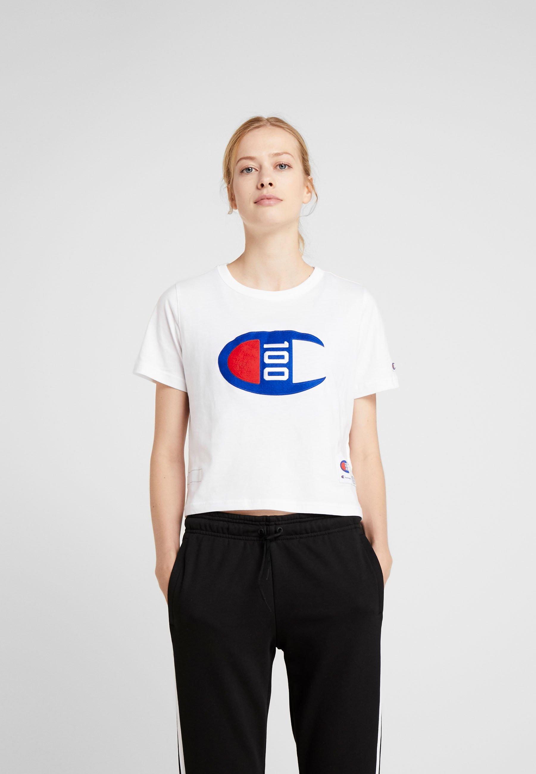 Champion Womens Crop White Imprimé shirt TeeT OPkXTwuZi