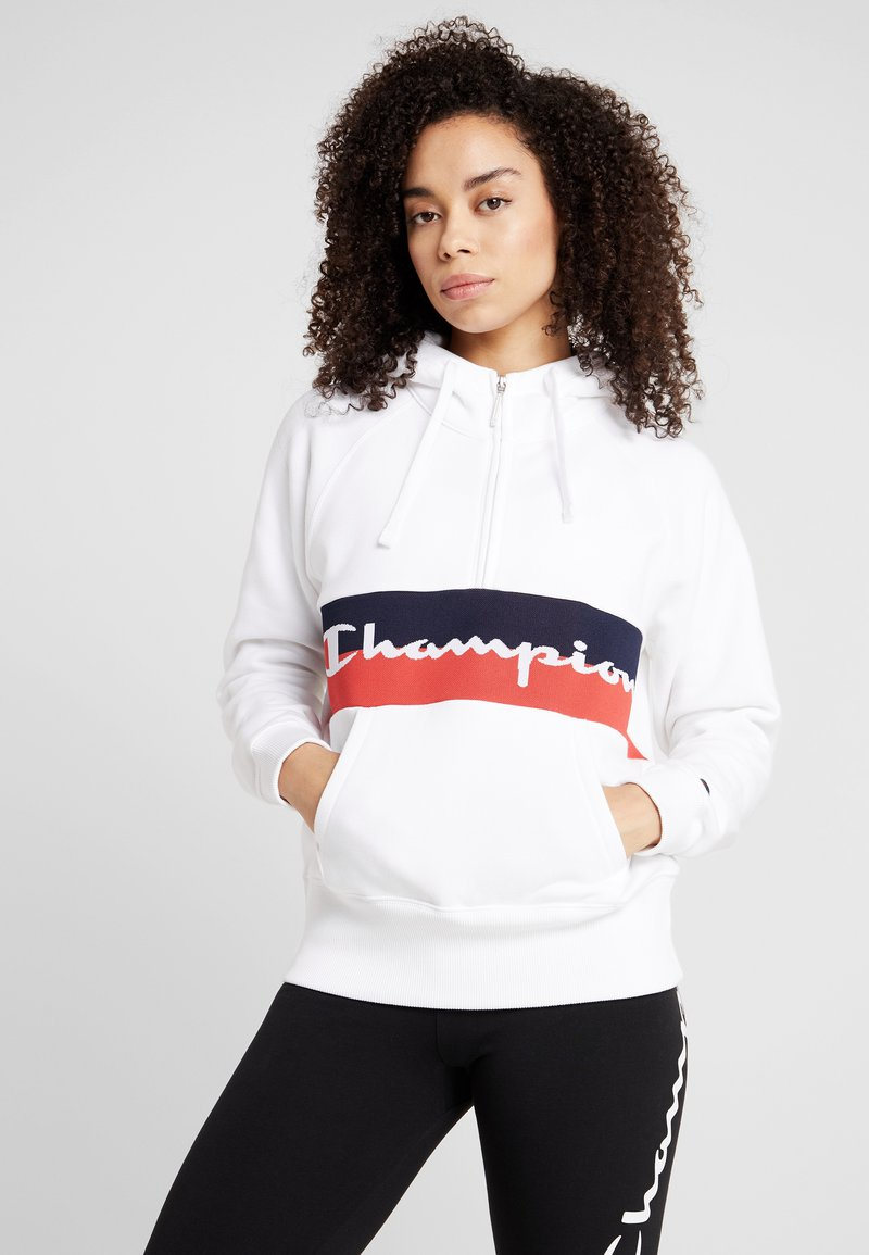 Champion - HOODED HALF ZIP  - Jersey con capucha - white