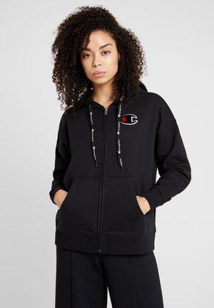 HOODED FULL ZIP - veste en sweat zippée - black