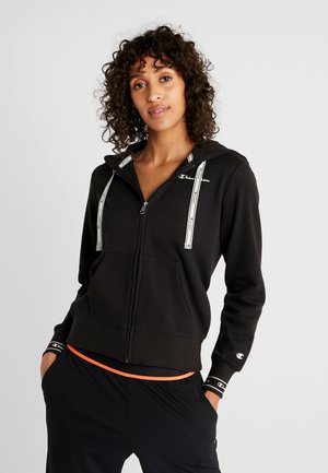 HOODED FULL ZIP - Collegetakki - black