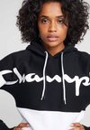 Champion - HALF ZIP - Hoodie - black/white