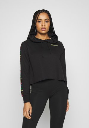 HOODED CROP - Hættetrøjer - black