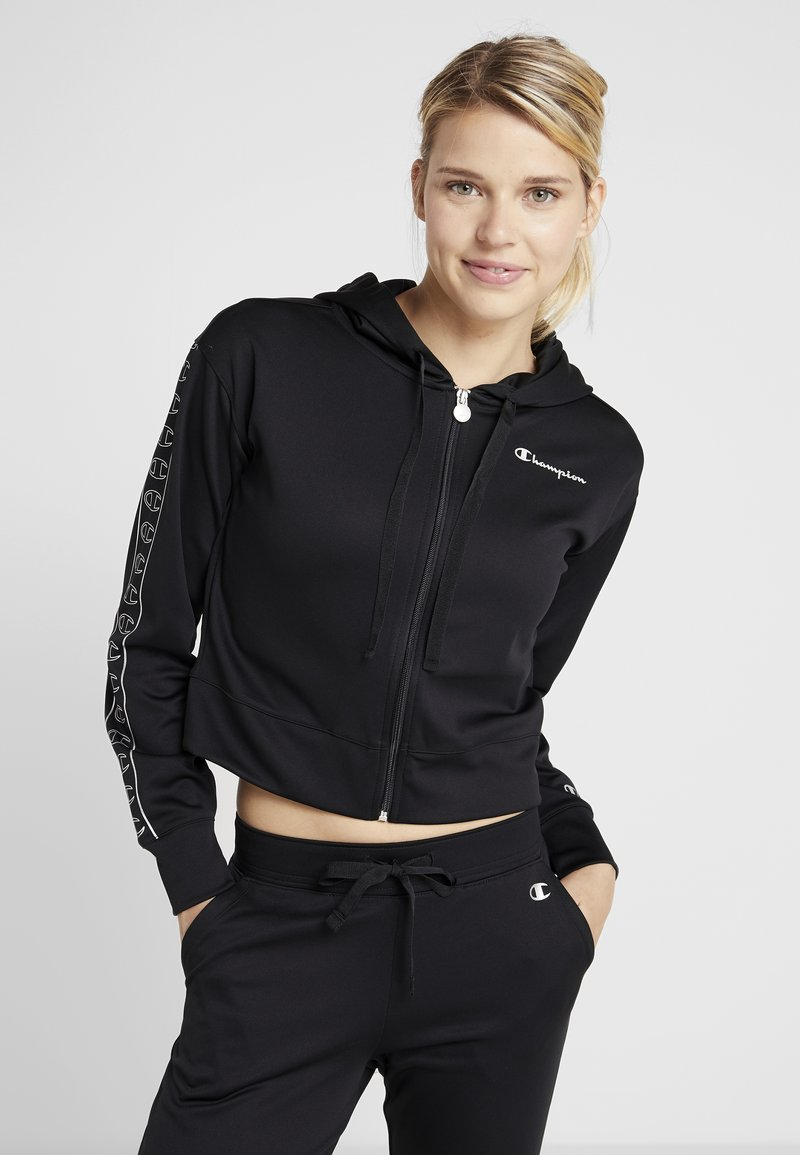 Champion - HOODED FULL ZIP CROP - Trainingsanzug - black