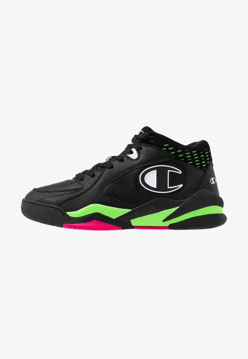 Champion - MID CUT SHOE ZONE MID 90'S - Basketsko - black/fluo lime/fluo fuxia