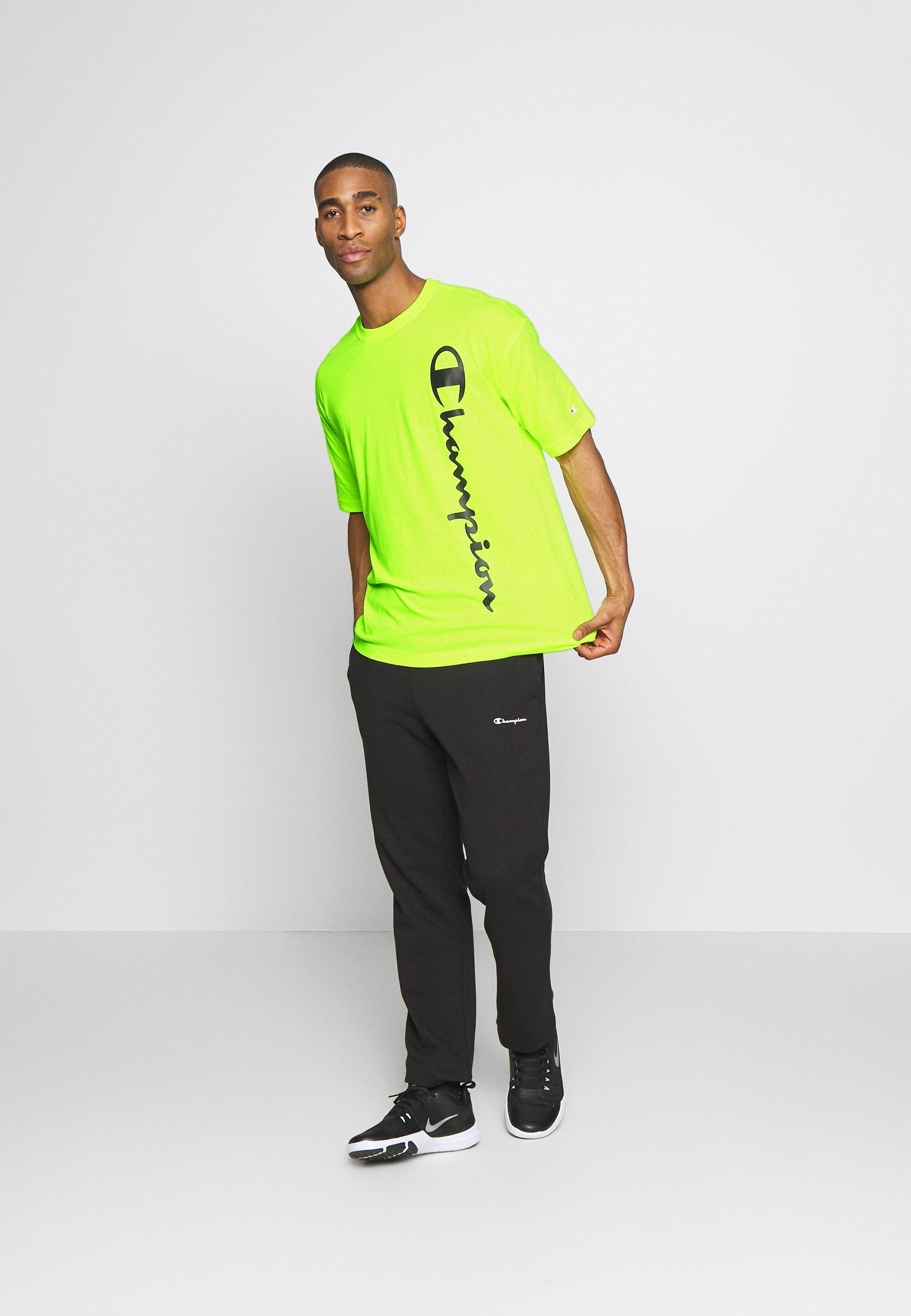Champion CREWNECK - T-shirt z nadrukiem - neon yellow