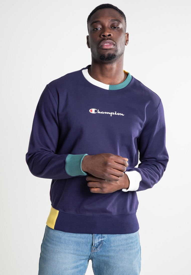 Champion - CREWNECK - Sweatshirt - eclipse/off white a/heliopis yellow/mallard green