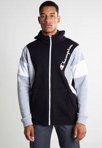 Champion - veste en sweat zippée - new black/new oxford grey melange/white - 0