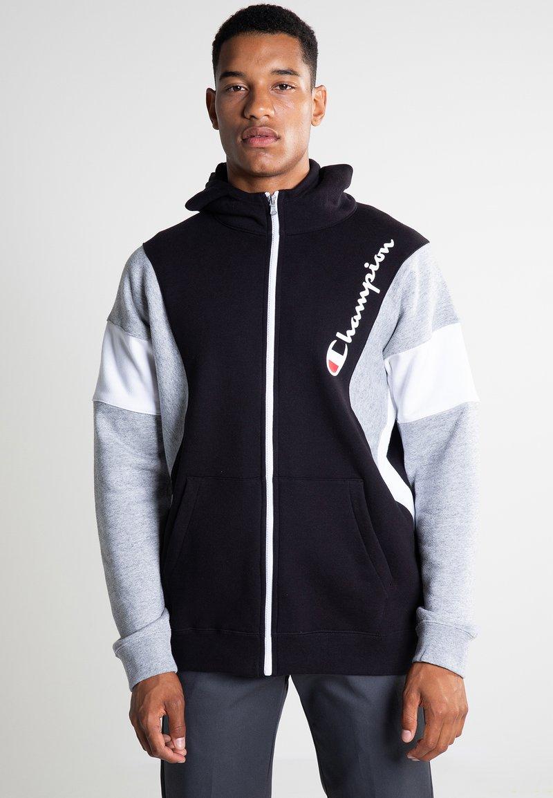 Champion - veste en sweat zippée - new black/new oxford grey melange/white
