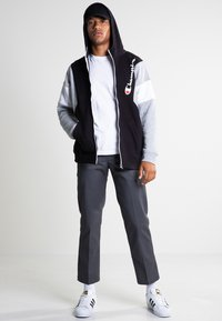 Champion - veste en sweat zippée - new black/new oxford grey melange/white - 1
