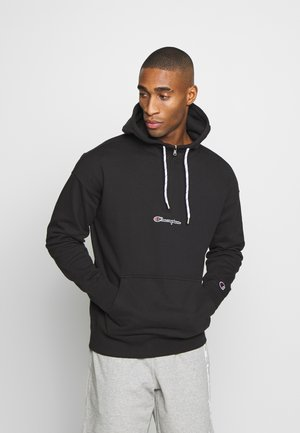 ROCHESTER HALF ZIP HOODED - Bluza z kapturem - black