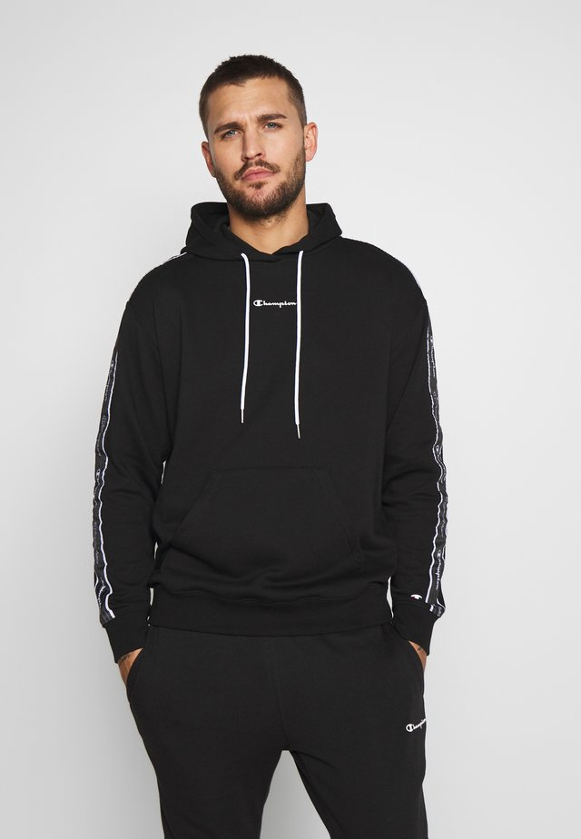 TAPE HOODED - Jersey con capucha - black