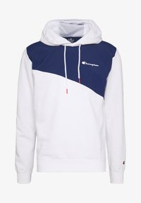 Champion - BLOCK HOODED  - Bluza z kapturem - white/dark blue - 4
