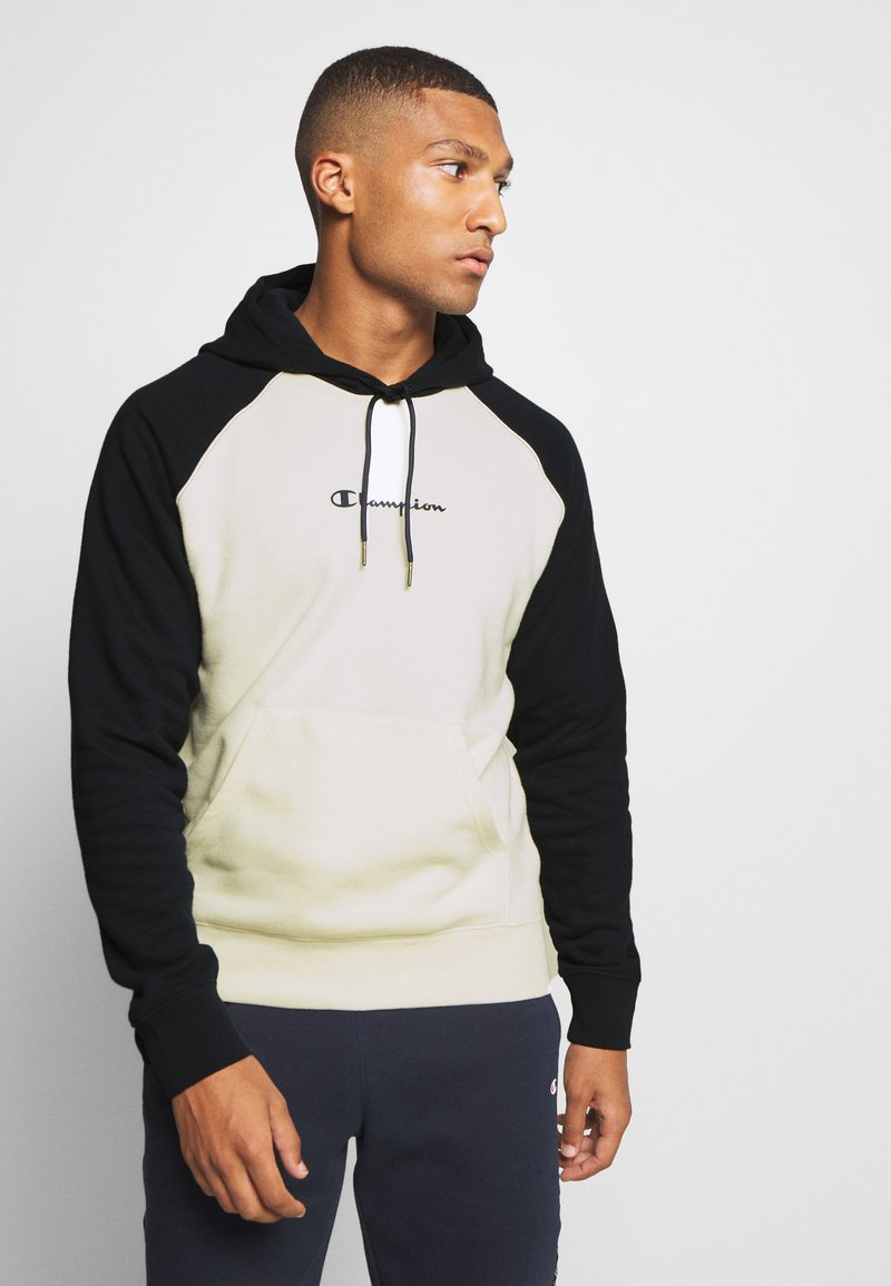 Champion - LEGACY COLOR HOODED - Hoodie - off white/dark blue