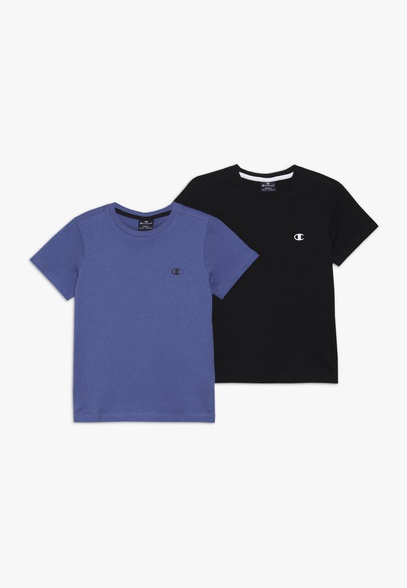 Champion - BASICS CREW NECK 2 PACK - T-shirts - blue/black