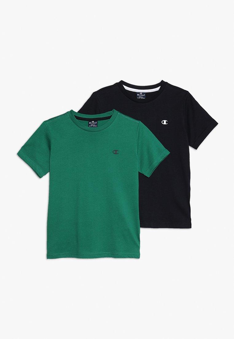 Champion - BASICS CREW NECK 2 PACK - T-Shirt basic - green/anthracite