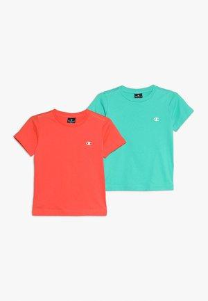 BASICS CREW NECK 2 PACK - Print T-shirt - coral/mint