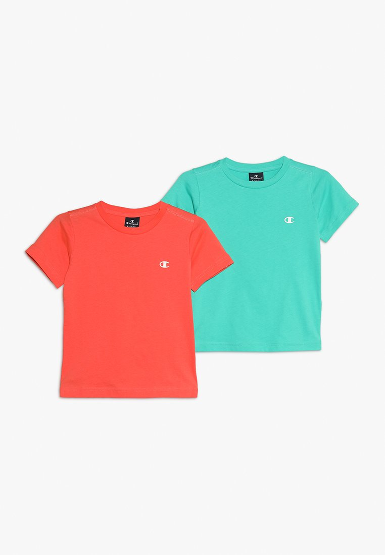 Champion - BASICS CREW NECK 2 PACK - Camiseta estampada - coral/mint