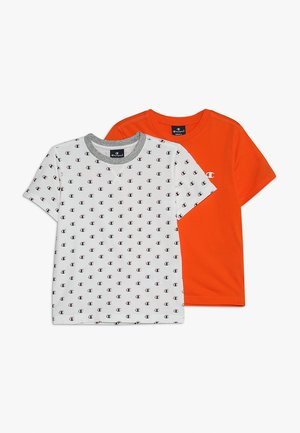 2 PACK - T-shirts print - white/orange