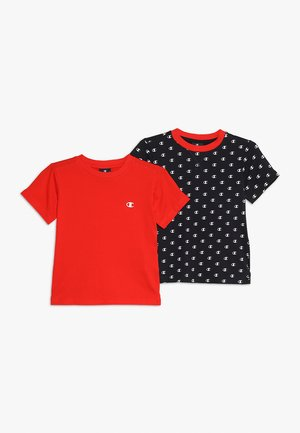 2 PACK - T-shirt print - navy/red