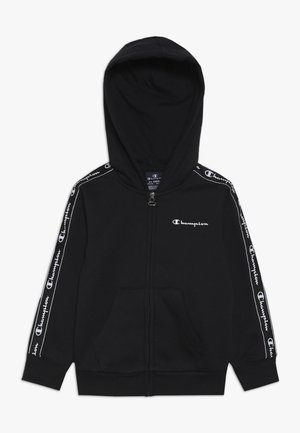 AMERICAN CLASSICS PIPING HOODED FULL ZIP - Huvtröja med dragkedja - black