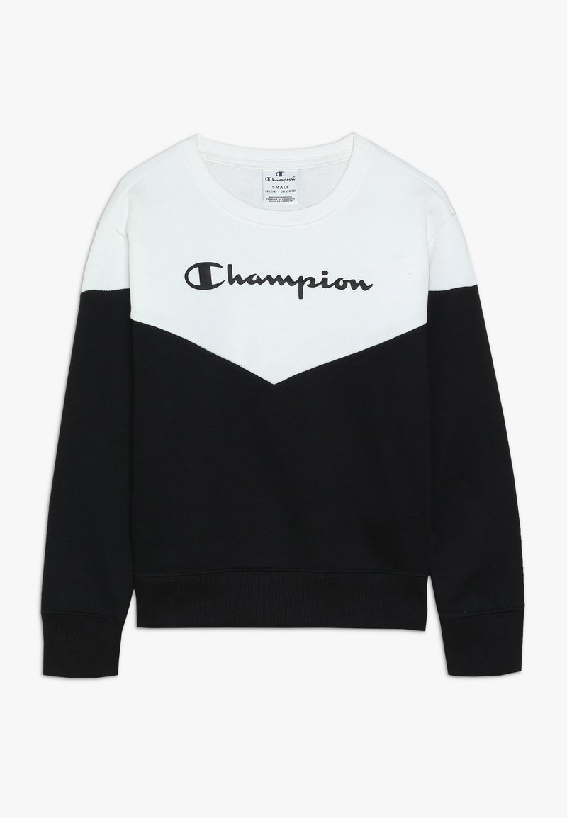 Champion - BASIC BLOCK CREWNECK - Sweatshirt - white/black