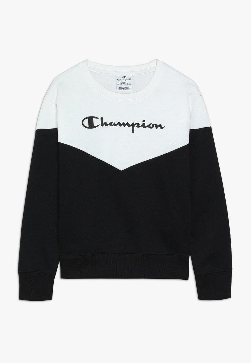 Champion - BASIC BLOCK CREWNECK - Bluza - white/black