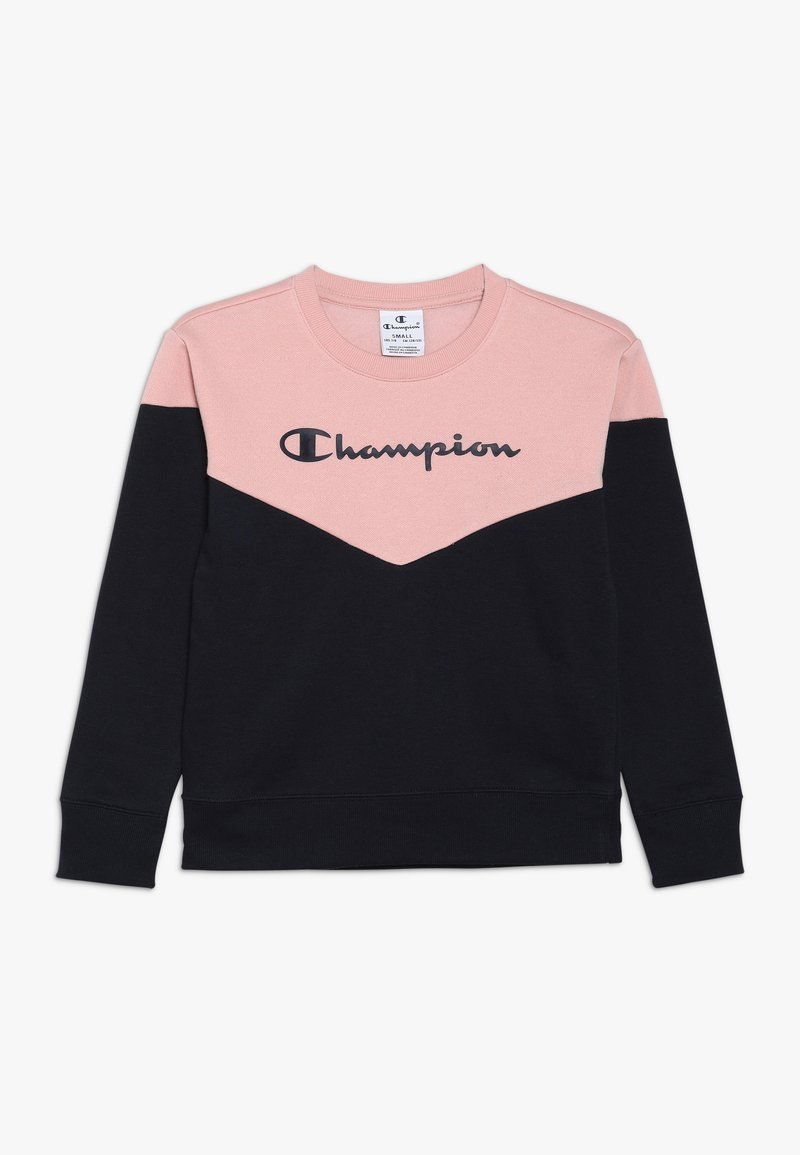 Champion - BASIC BLOCK CREWNECK - Mikina - light pink/dark blue