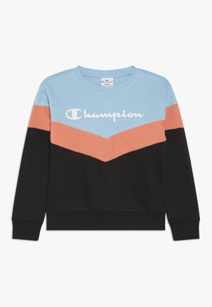 CHAMPION X ZALANDO COLORBLOCK CREWNECK  - Mikina - black/light blue/coral