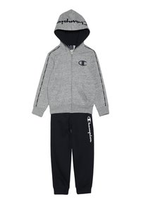 Champion - HOODED FULL ZIP SUIT - Tepláková souprava - grey light melange/navy - 0