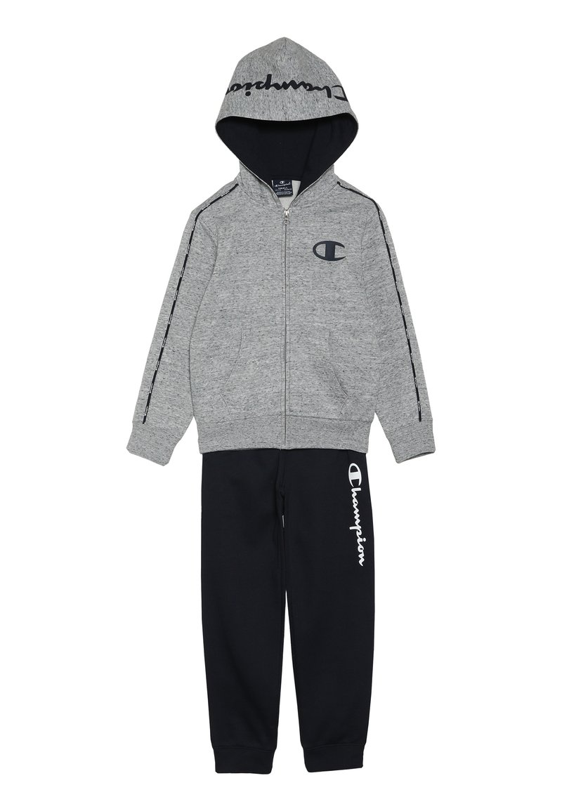 Champion - HOODED FULL ZIP SUIT - Trainingsanzug - grey light melange/navy