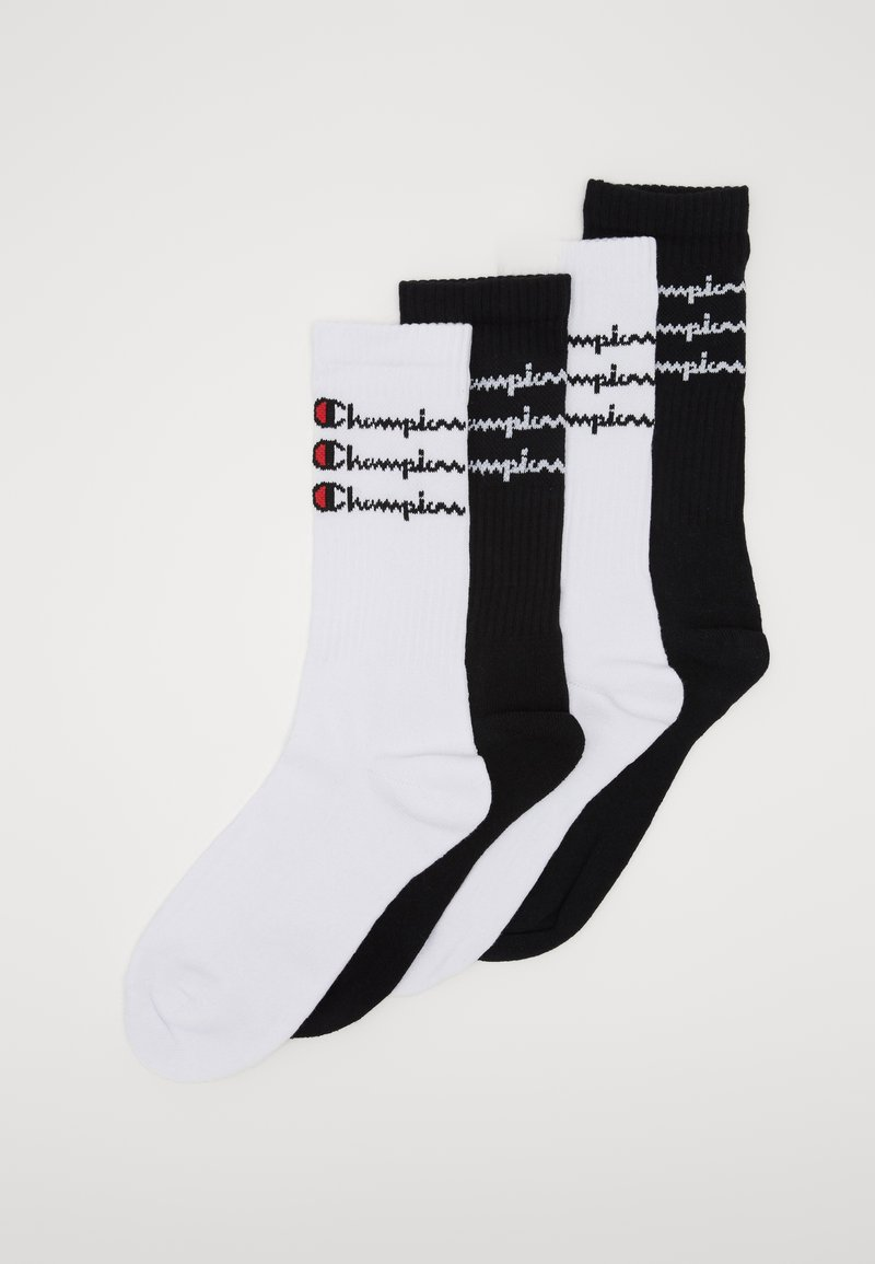 Champion - SCRIPT CREW 4 PACK - Calcetines de deporte - white/black