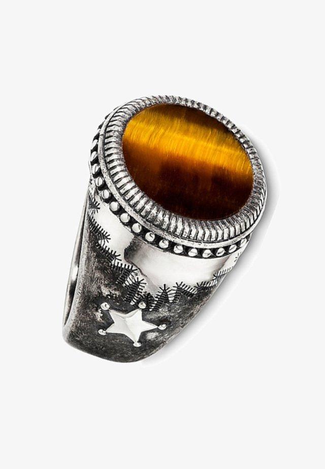 Ring - silber/braun