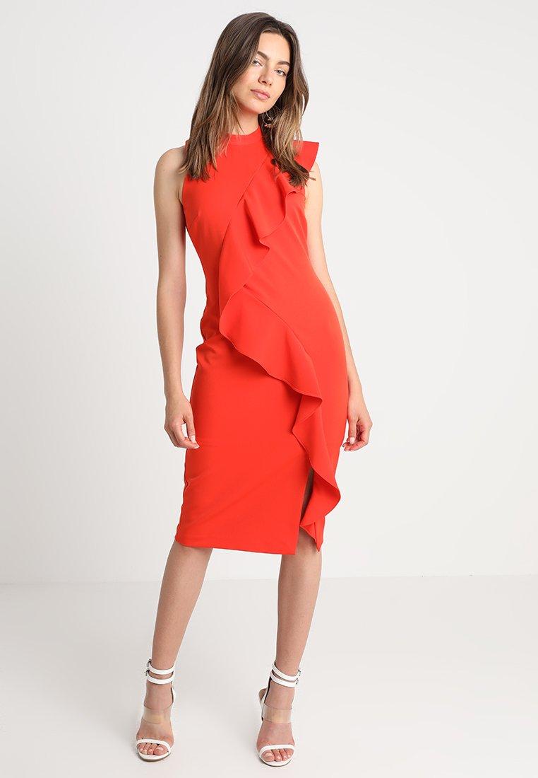 Coast - KARLY RUFFLE SHIFT DRESS - Shift dress - tomato