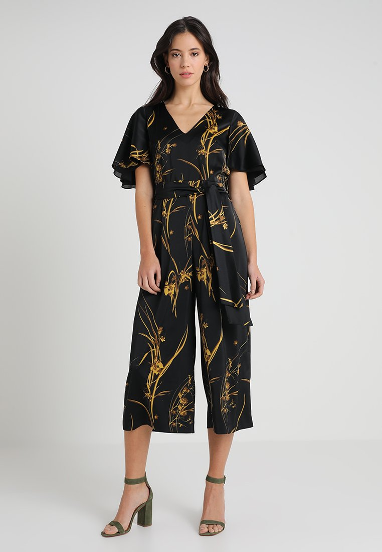 Coast - ELDORA PRINTED V NECK WIDE LEG - Jumpsuit - black