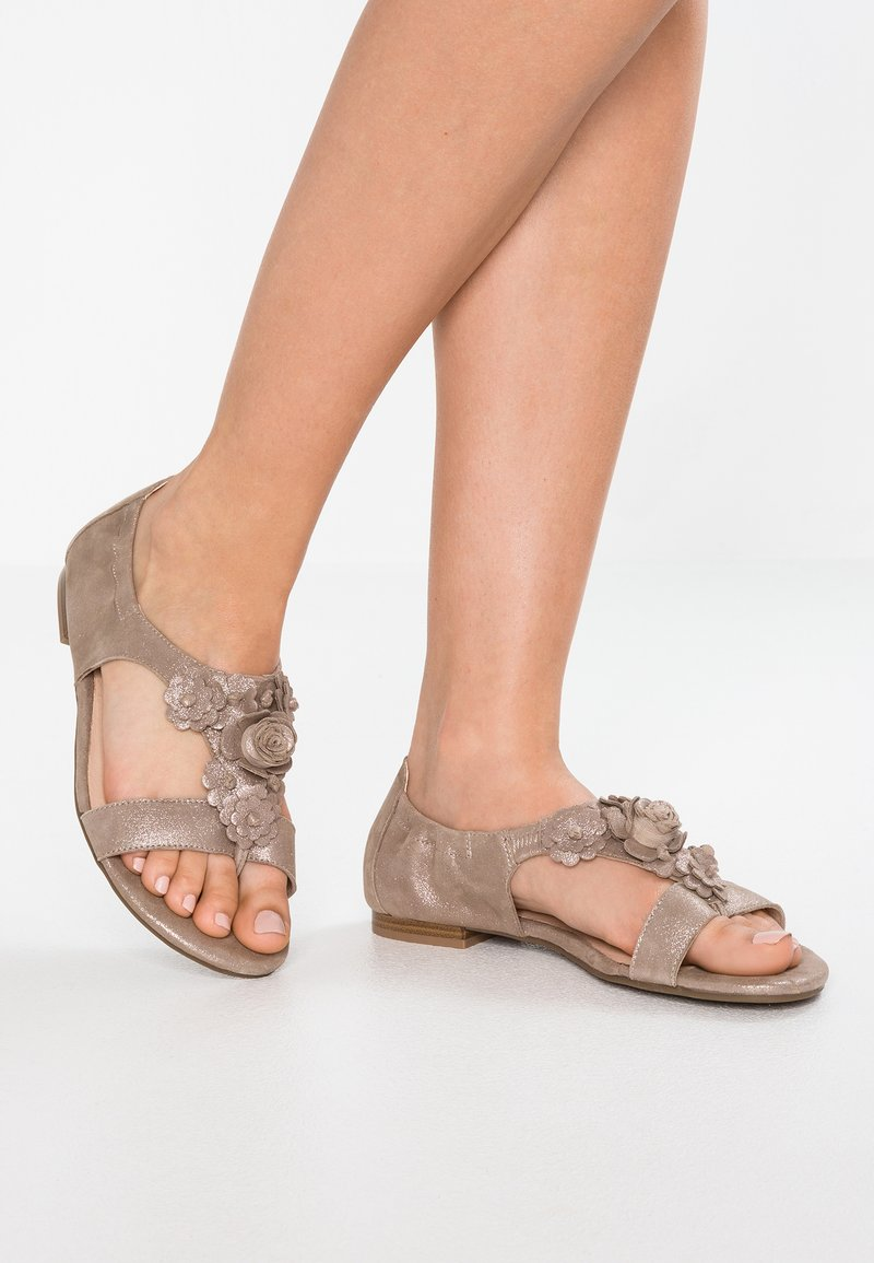 Caprice - T-bar sandals - taupe/metallic