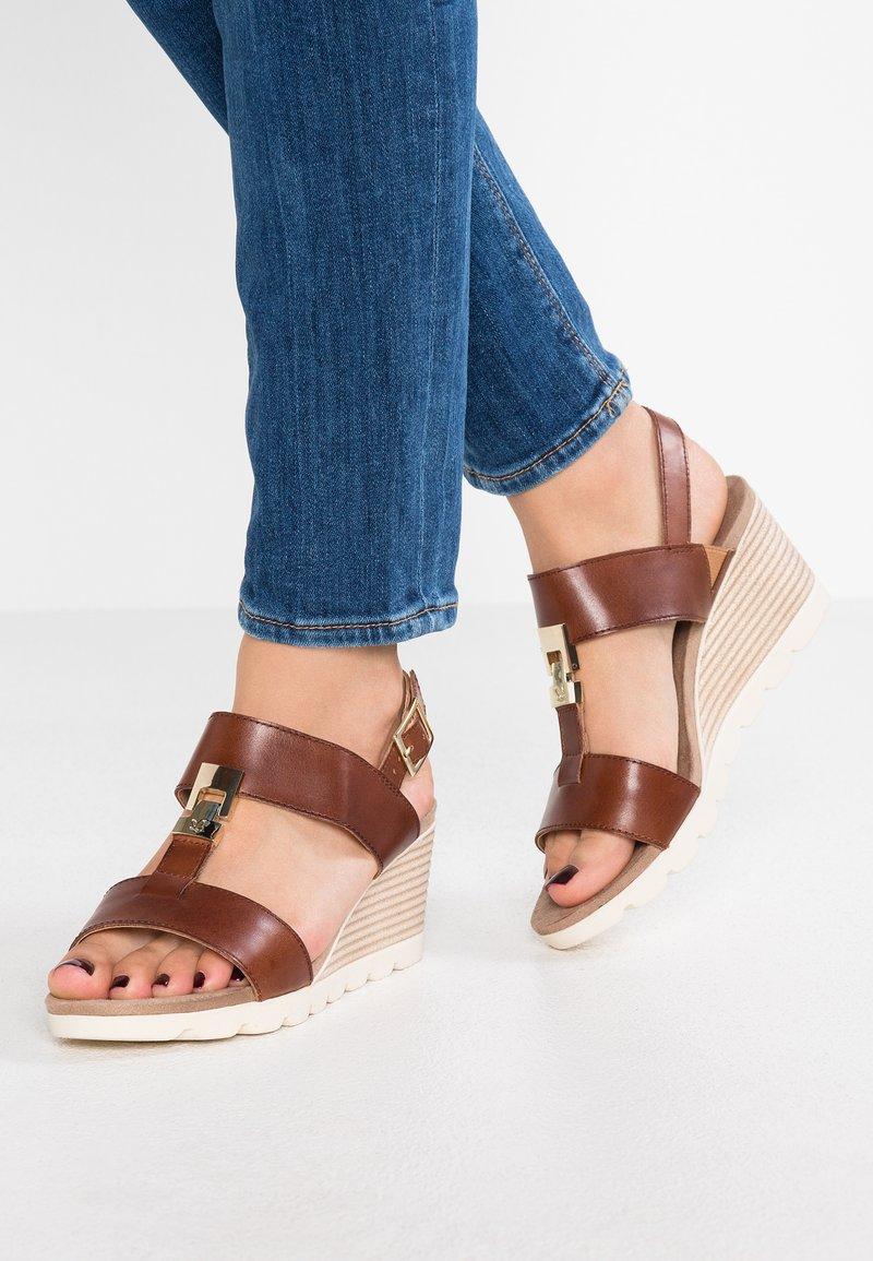 Caprice - Wedge sandals - cognac