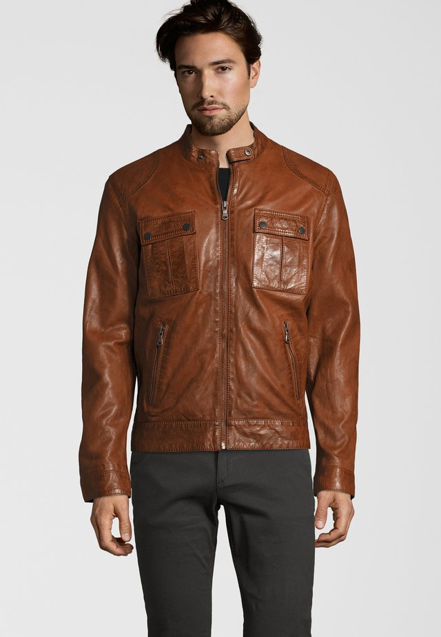 NEBRASKA  - Leather jacket - mocca brown