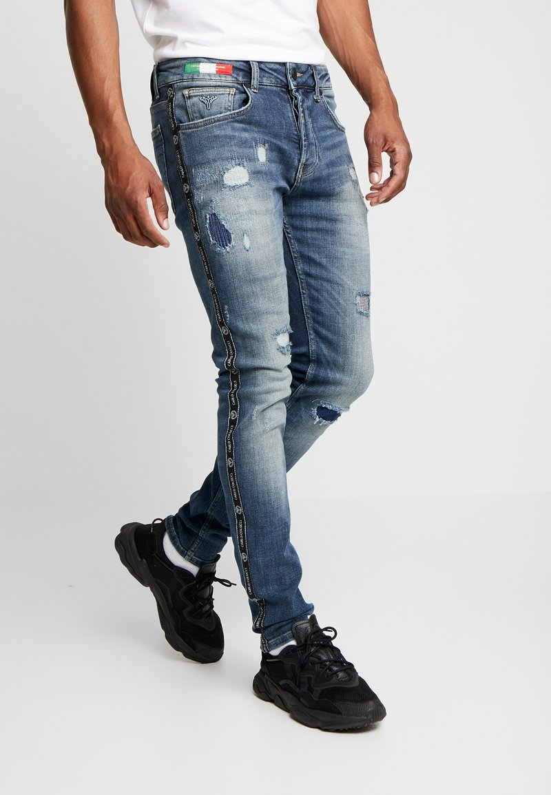 Carlo Colucci - Jeans slim fit - blue piping