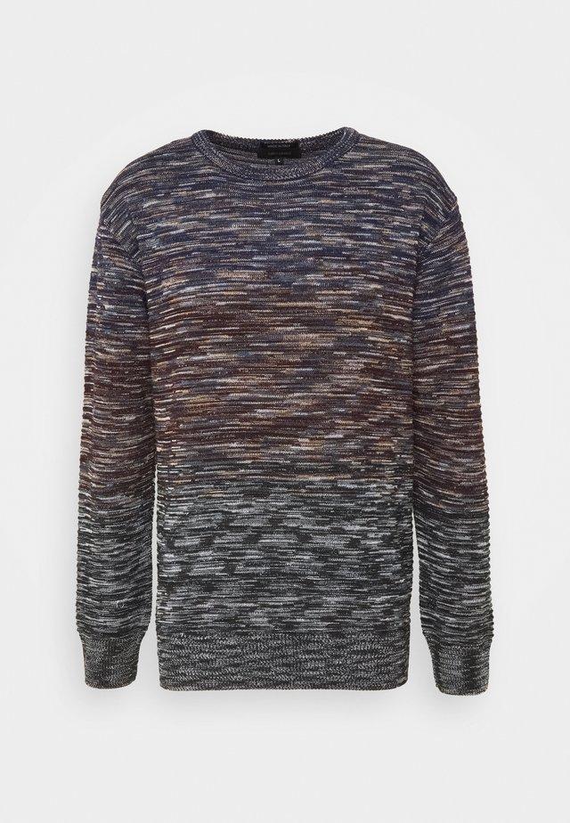 Stickad tröja - schwarz bordeauy