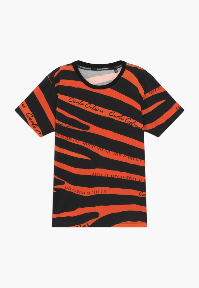 Camiseta estampada - black/orange