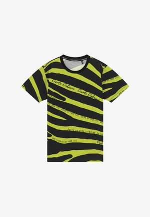Print T-shirt - black/neongreen