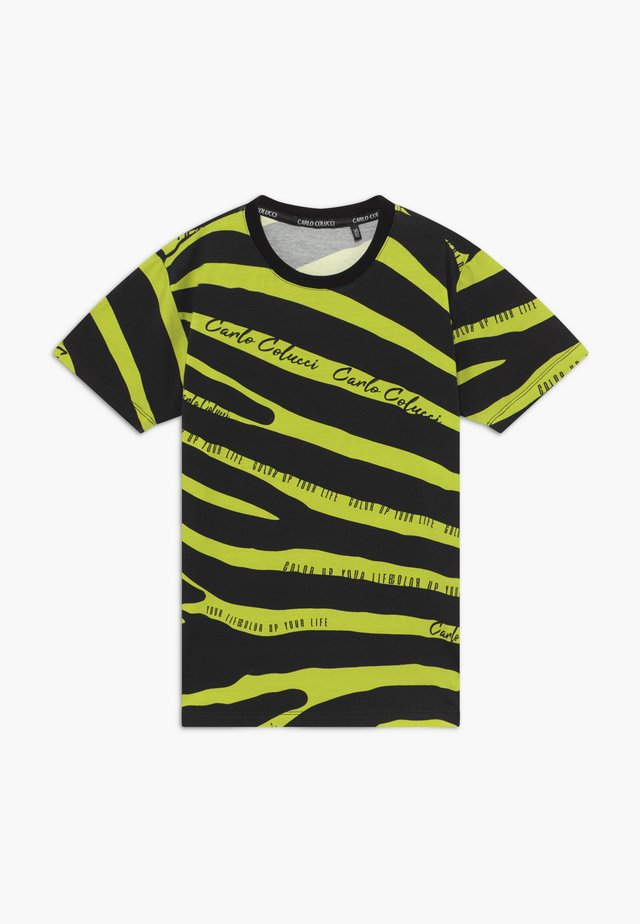 T-shirt con stampa - black/neongreen