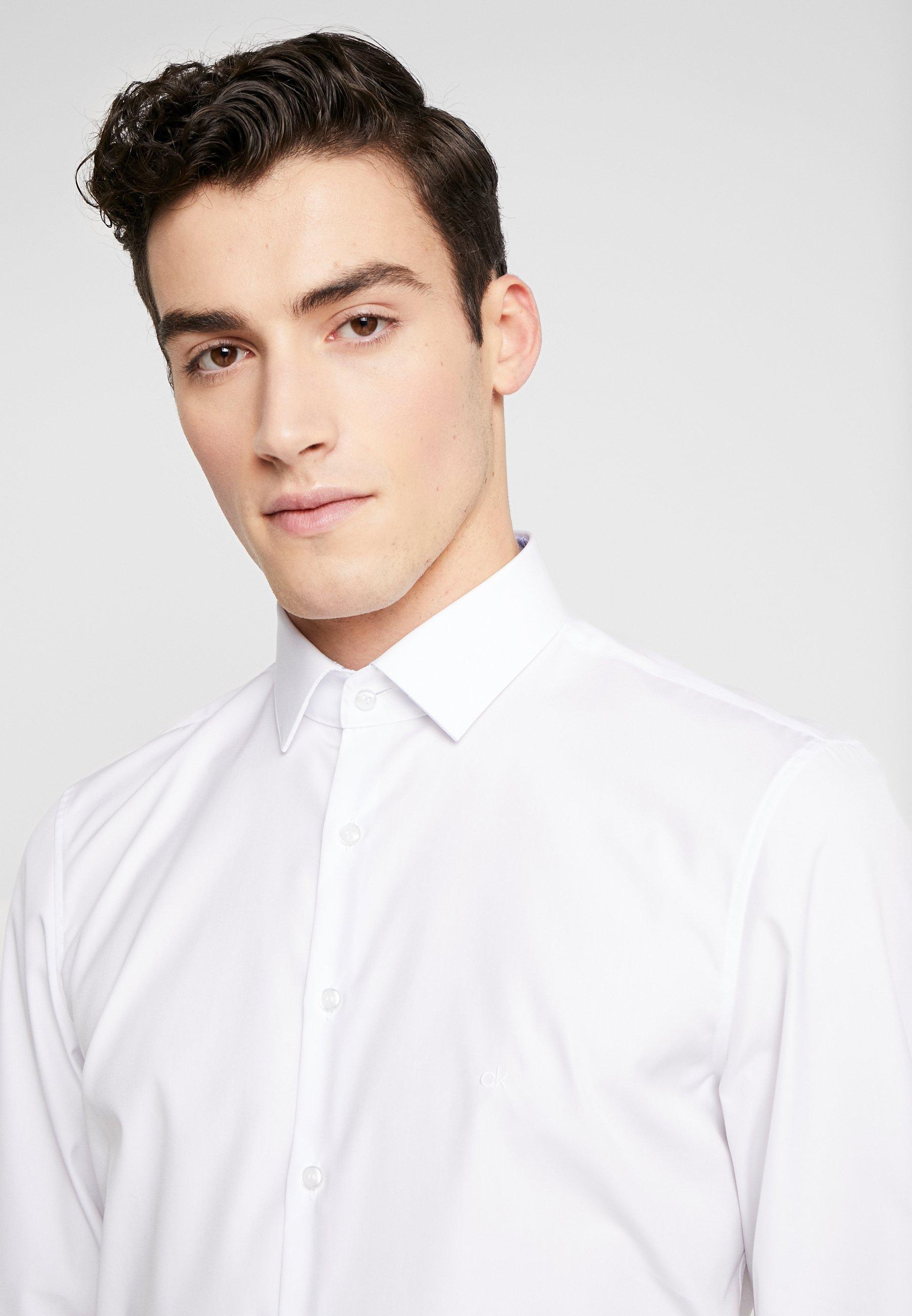 Calvin Klein Tailored Contrast Easy Iron Slim Fit Shirt - Zakelijk Overhemd White