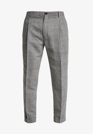GLENCHECK PLEATED TAPERED PANT - Kalhoty - black