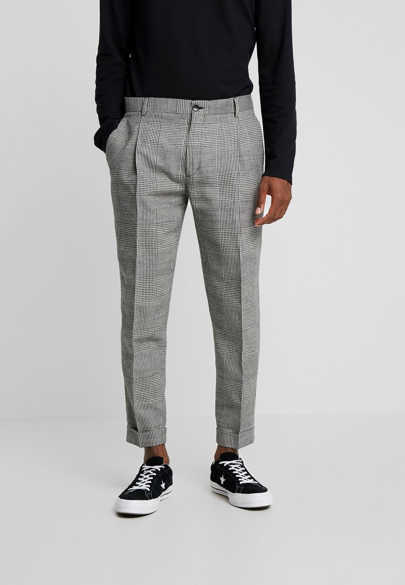 Calvin Klein Tailored - GLENCHECK PLEATED TAPERED PANT - Trousers - black