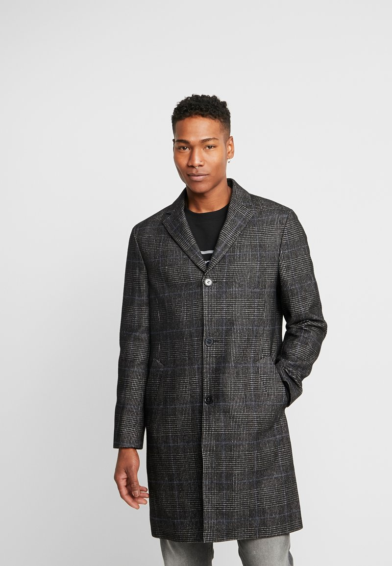 Calvin Klein Tailored - GLENCHECK COAT - Mantel - black
