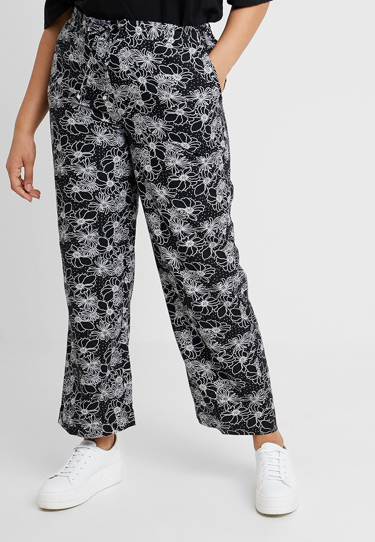 CAPSULE by Simply Be - EASY CARE MIX TROUSERS - Trousers - black/white