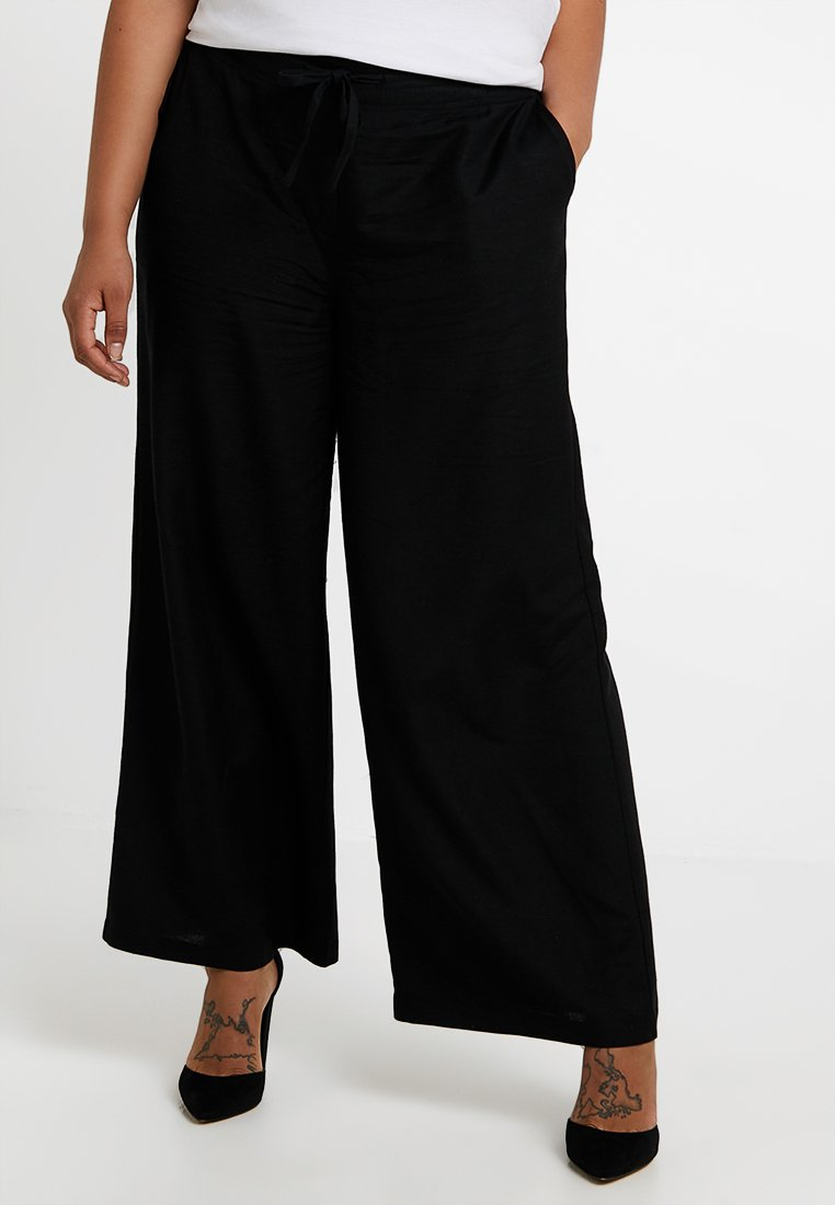 CAPSULE by Simply Be - EASY CARE WIDE LEG TROUSER - Stoffhose - black