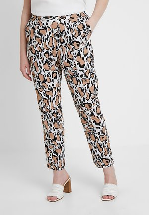 PRINT CREPE TAPERED TROUSERS - Trousers - brown/white/black