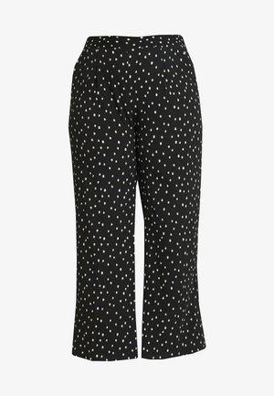 WIDE LEG TROUSERS SPOT PRINT - Pantalones - black/ivory